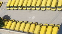 Yellow vans from above