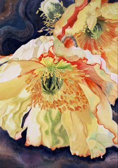 watercolor poppi, watercolor artist, golden poppi, marney ward, watercolour artists, paint, poppies, marni ward, flower