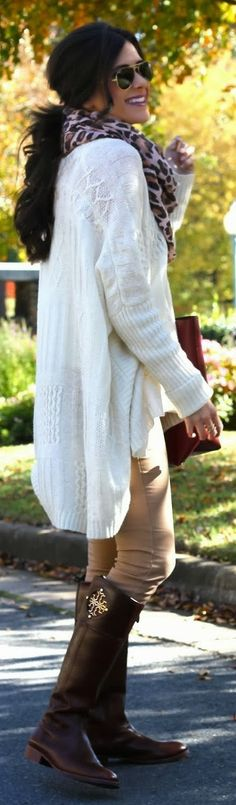 White oversized cardigan, scarf, skinnies and those Tory Burch boots!