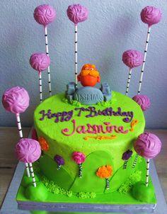 The Lorax Cake & Truffela Tree Cake Pops, make the truffelas orange and Tyrian would love this!