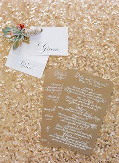 Beautiful menus. Photography by josevillaphoto.com, Wedding Design & Planning by kristeenlabrotevents.com, Paper Goods by calligraphykatrina.com (Design) + paulantonioscribe.com (Calligraphy)