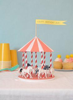 cake carousel, girl birthday, diy crafts, carousel centerpiec, diy birthday candles, girls birthday parties, craft ideas, cake toppers, birthday decorations