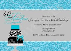 40 and Fabulous Birthday Invitation Tiffany Blue Damask Zebra Cake -  DIY Print Your Own - Matching party printables available. $12.00, via Etsy.