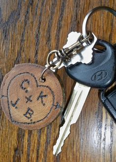 Valentine gift for him, personalized rustic Keychain key chain, love tree carving, wedding gift tag via Etsy