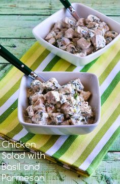 Chicken Salad with Basil and Parmesan; updated with a lighter dressing and more basil! This is a favorite salad I've been making for years. [from Kalyn's Kitchen] #LowCarb #GlutenFree #SouthBeachDiet #SummerSalad #FreshBasil