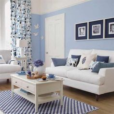 Blue living room, small space