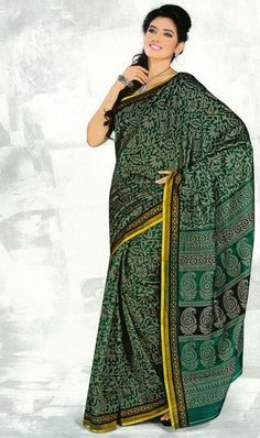USD 38.17 Green Flower Printed Silk Saree  37116