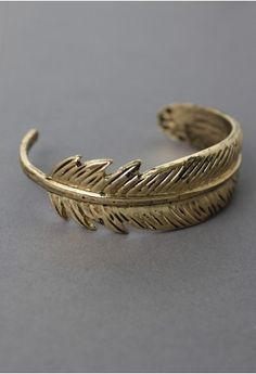 Gold Plated Feather Cuff