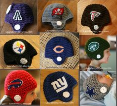 Football Helmet Beanie PATTERN - Baby, Toddler, Child and Adult. $8.50, via Etsy.