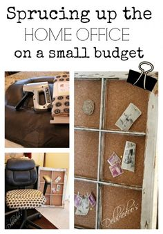 Sprucing up the #homeoffice on a small budget. #burlap, #recycle