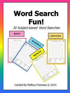30 subject-based word searches to use in your classroom!