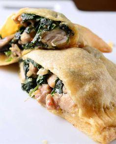 Chicken, Spinach and Mushroom Crescent Pockets ( http://www.lifesambrosia.com/2013/11/chicken-spinach-and-mushroom-crescent-pockets-recipe.html )