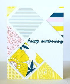 Beautiful mix of patterns and colors on this card!Anniversary card by CristinaC at @Studio_Calico