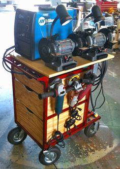 welding cart for mig welder, tools, grinders and accessories