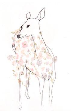 draw, art, inspir, a tattoo, flowers, laura perez, illustr, ana laura, deer