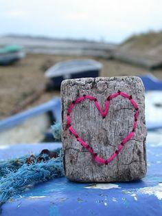 stitching on driftwood