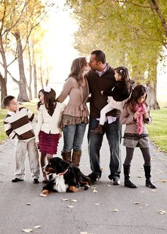 Family photo idea. Walking down the street on a fall day. Love it!