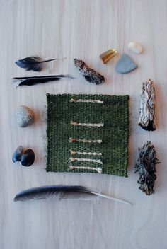 "Mermaid Treasure by Rachel Freeman, via Behance. Hand-woven Tapestries and Found Objects, each 11"" x 17""."