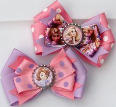 Pink and Purple Polka Dot Princess Inspired Hair Bow by bowsforme, $12.99
