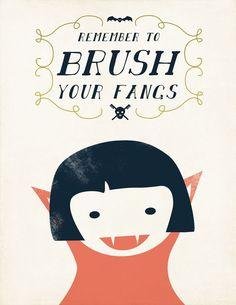 Vampire Girl Halloween Art- Brush Your Fangs Halloween Print