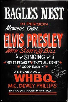 Elvis Presley 1954 Eagles Nest Original Hand-Painted Concert  Poster, Memphis TN.