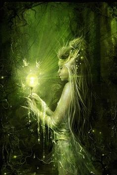 Woodland Fairy Looking into a Green Crystal Ball