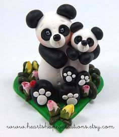 Eternal Love Panda Mum And Baby Polymer Clay Figurine by HeartshapedCreations, via Flickr