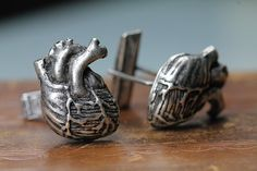 Anatomical Heart Cuff Links Cast Metal in Antiqued Silver