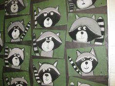 Rascal Raccoons- chalk pastels, gr.3