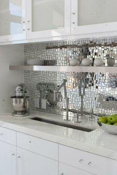 Oh so silver!  Mirror mosaic tile backsplash