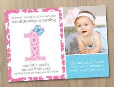 Baby Girl First 1st Birthday Photo Invitation