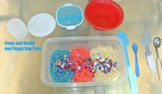 Colored noodle fun for 4th of July from Frogs and Snails and Puppy Dog Tails