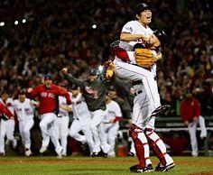 Koji Uehara and David Ross (Boston Red Sox)