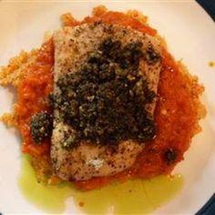 Grilled Mahi Mahi with Roasted Pepper Sauce and Cilantro Pesto