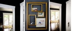 Marley inspired me to post this today!  |  charcoal walls dark gray gold brass empty layered frames painted white giraffe hang jewelry on the wall as decor pottery barn rug white trim ... via a palm beach artist, designer, consultant.  sharonna misha designs.