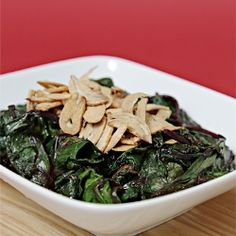 Sauteed beet greens with cumin, lemon zest and crispy fried garlic