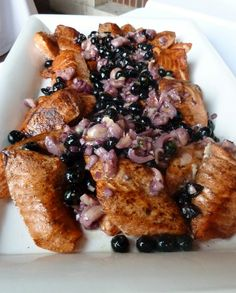 BBQ Salmon with Blueberry - Lychee Compote