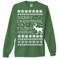 Merry Christmas Ya Filthy Animal Ugly Christmas Sweater T-Shirt.