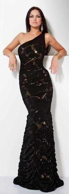 JOVANI - Embellished One-Shoulder Mermaid Dress