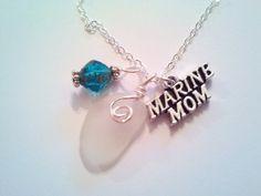 Marine Mom Necklace, Sea Glass Necklace