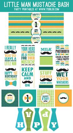 FREE Little Man Mustache Bash First Birthday Party Free Printables