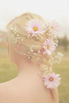 Pretty blonde braid with daffodils.