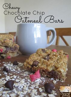 Chewy Chocolate Chip Oatmeal Bars. quick & easy! left in the oven just a tad too long but still delish!