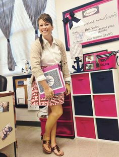 nautical classroom, navy, pink, anchors   www.proverbsliving.org