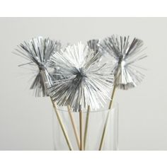 Tinsel Pom Swizzle Sticks - Set of 12