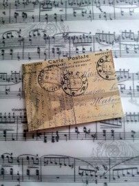 Label postkaart Parijs | Labels stof tekst | Nostalgie & Brocante
