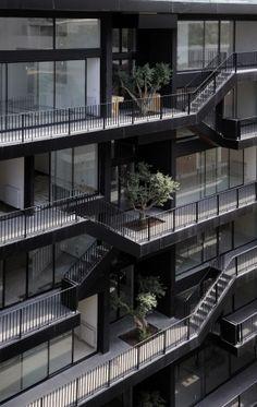 Plot #183, Bernard Khoury Architects. lovely terrace detail of facade