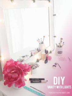 DIY Vanity mirror with lights. I used this as my inspiration to make my own vanity!!