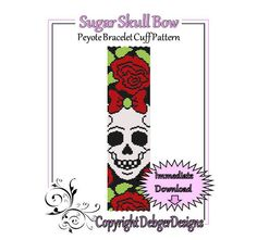 Sugar Skull Bow - Beaded Peyote Bracelet Cuff Pattern