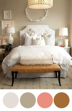wall colors, color palettes, antler, bench, light fixtures, white bedrooms, white bedding, guest rooms, bedroom designs